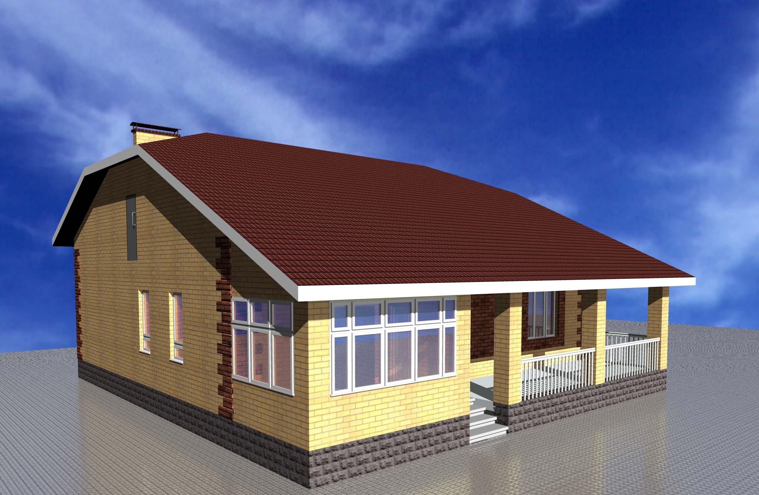 проект одноэтажных домов с верандой фото эта модель